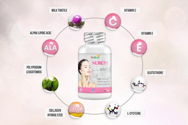 NuBest White có chứa bộ đôi vitamin C và E với hàm lượng phù hợp