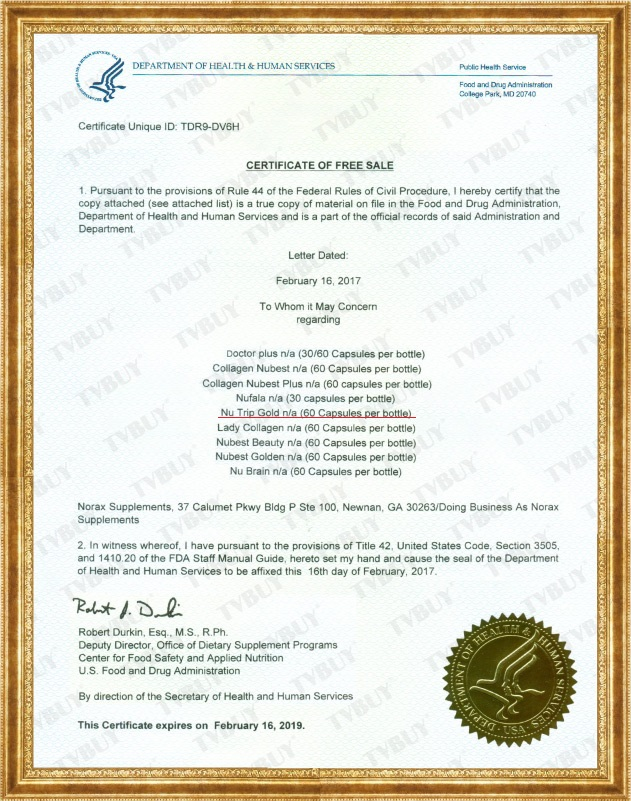 Nutrip Gold được FDA Hoa Kỳ chứng nhận