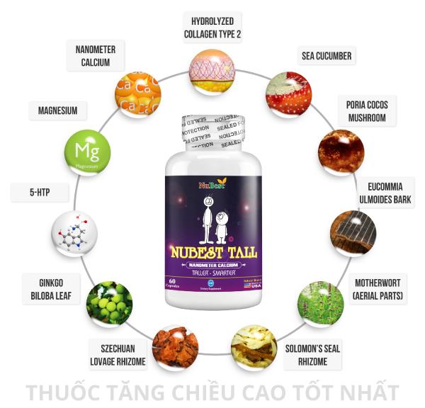 Công thức chuyên biệt của thuốc tăng chiều cao NuBest Tall